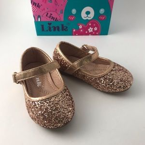 Link Rose Gold Glitter Baby Shoes